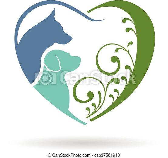 心, グラフィック, 愛, 犬, ベクトル, デザイン, logo. - csp37581910