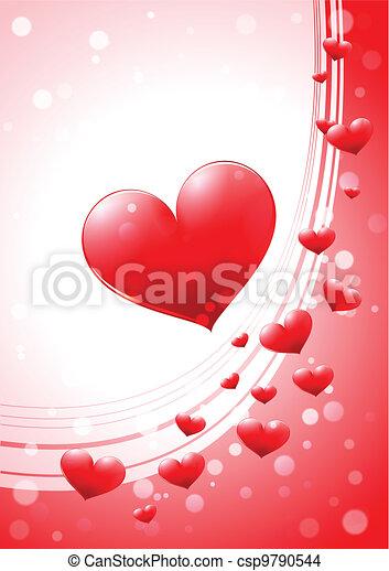 心, グロッシー, カード, バレンタイン - csp9790544