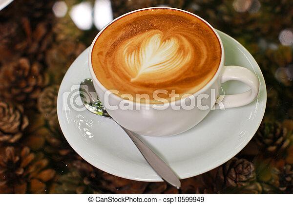 心, コーヒー, カプチーノ, latte, 形, ∥あるいは∥ - csp10599949