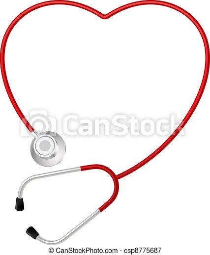 心, シンボル, 聴診器 - csp8775687