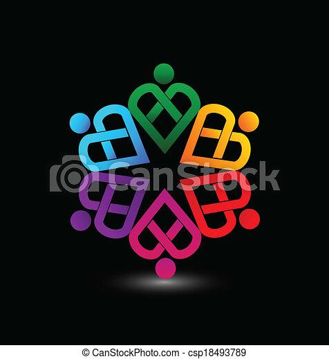 心, ベクトル, チームワーク, ロゴ - csp18493789