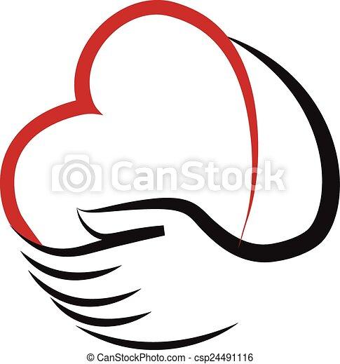 心, ベクトル, 手, ロゴ - csp24491116