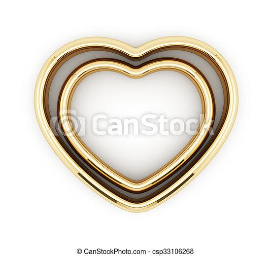 心, リング, 形づくられた, 隔離された, 金 - csp33106268