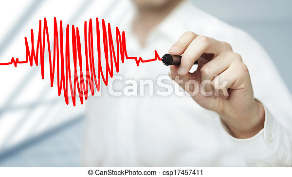 心, 图表, 心跳 - csp17457411