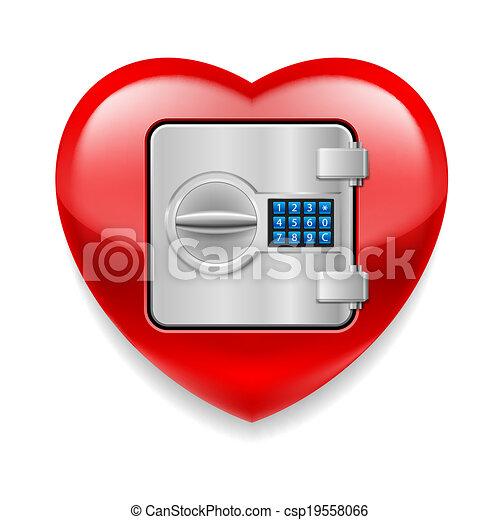 心, 安全である, 光沢がある, 赤 - csp19558066