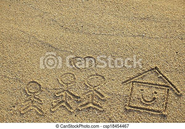 心, 家族, 家, 形, 砂, 引かれる, 浜, 幸せ - csp18454467
