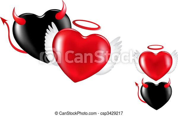 心, 悪魔, 天使 - csp3429217