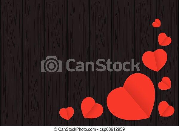 心, 愛, フレーム, バレンタイン, 形, デザイン, テーブルの 上, 背景, 黒い赤, スペース, 背景, コピー, 旗, カード, 木, グラフィック, 形づくられた, 木製である, バレンタイン, 光景 - csp68612959