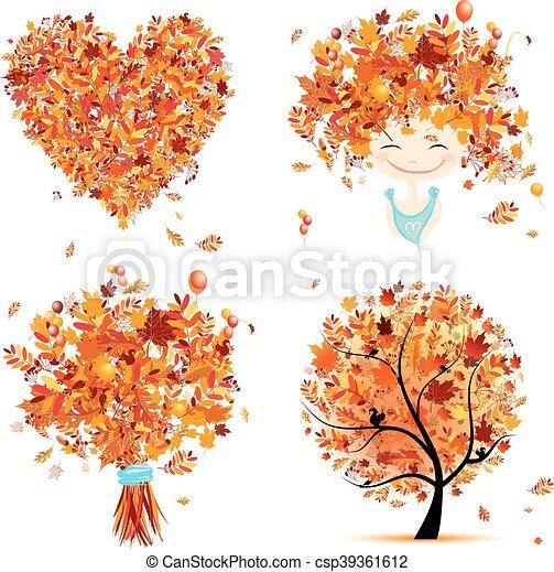 心, 放置, 花束, design:, 秋季, 树, 女孩, 你 - csp39361612
