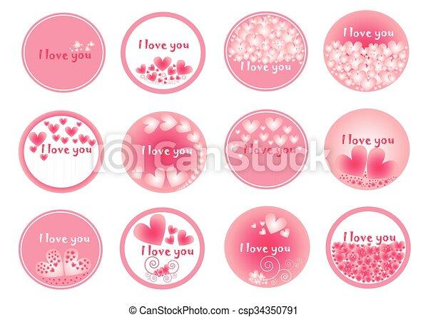 心, 日, セット, 心, アイコン, ベクトル, 円, コレクション, デザイン, 平ら, グループ, バレンタイン, ピンク, 理想 - csp34350791