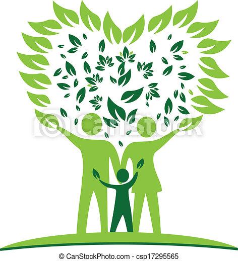 心, 木, leafs, ロゴ, 家族 - csp17295565