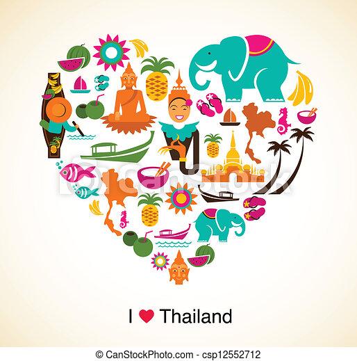 心, 爱, 图标, -, 符号, 泰国, 泰国人矢量