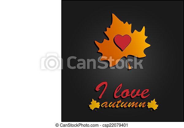 心, 爱, 符号, autumn., 秋季树叶 - csp22079401