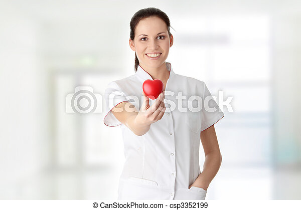 心, 看護婦, 若い, 彼女, 手 - csp3352199