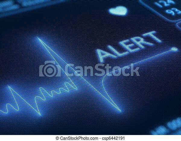 心, 線, 警告, モニター, 平ら - csp6442191