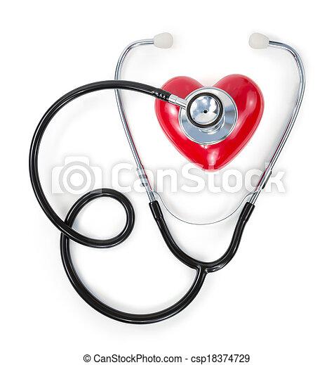 心, 聴診器赤 - csp18374729