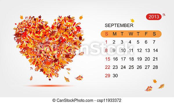心, 艺术, 2013, september., 矢量, 设计, 日历 - csp11933372