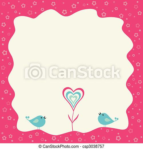 心, 花, フレーム, 2, レトロ, 鳥 - csp3038757