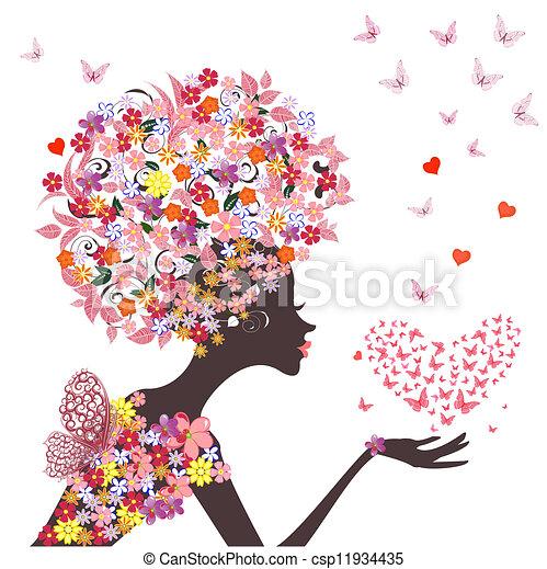 心, 蝴蝶, 時裝, 花, 女孩 - csp11934435