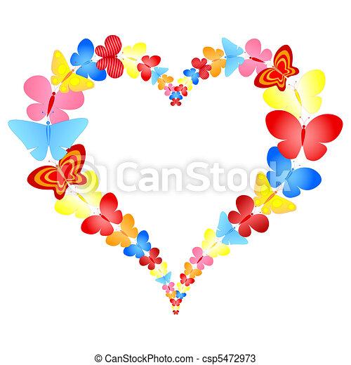 心, 蝶, フレーム, バレンタイン - csp5472973