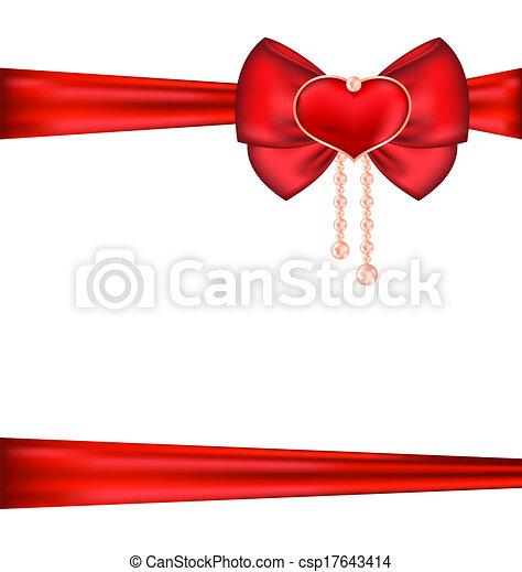 心, 贈り物, パール, バレンタイン, パッキング, 弓, 日, 赤 - csp17643414