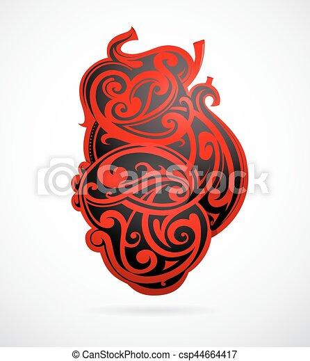 心, 部族の芸術, 形 - csp44664417