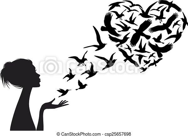 心, 鳥, ベクトル, 形づくられた, 飛行 - csp25657698