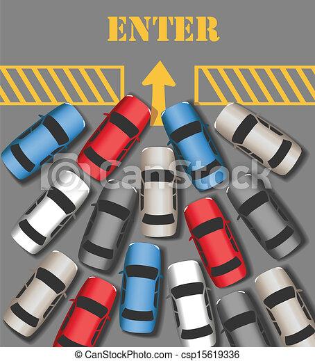 忙しい, 参加しなさい, 自動車, サイト, 交通, 入りなさい - csp15619336