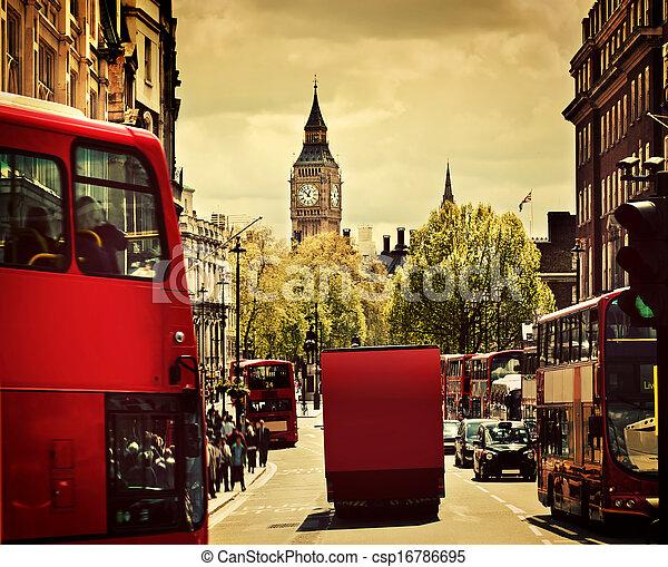 忙, ben, 大, 公共汽車, england, uk., 街道, 倫敦, 紅色 - csp16786695