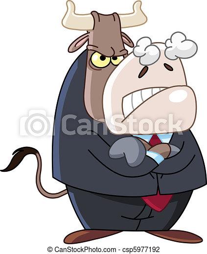 怒る, ビジネス, 雄牛 - csp5977192