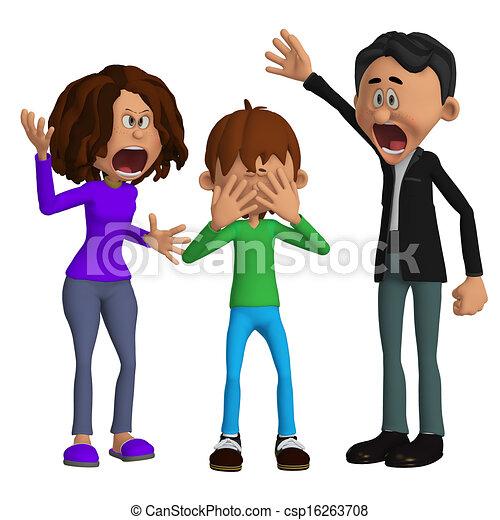 怒る, 親, 子供 - csp16263708