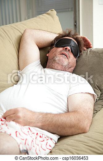 怠け者である, 人, 眠ったままで, ソファー - csp16036453