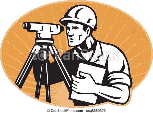 总数, 测量员, 站, 工程师, 经纬仪 - csp8569325
