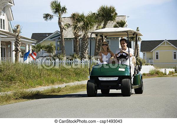 恋人, ゴルフ, cart. - csp1493043