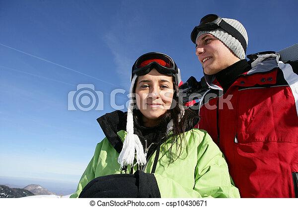 恋人, 休日, 一緒に, スキー - csp10430671