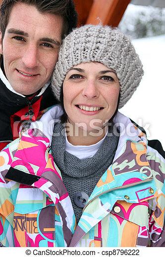 恋人, 休日, 中年, 一緒に, スキー - csp8796222