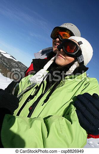 恋人, 休日, 若い, スキー - csp8826949