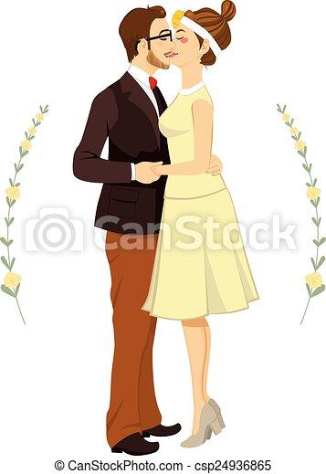 恋人, 情報通, 抱き合う, 結婚式 - csp24936865