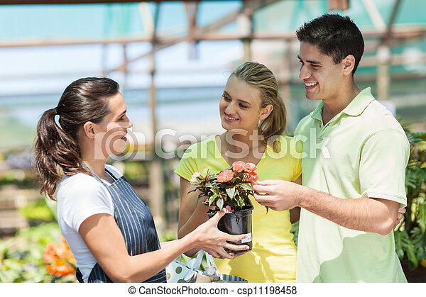 恋人, 花, 若い, 購入 - csp11198458