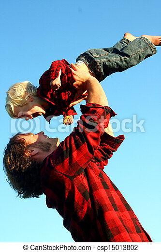 息子, 父, 持ち上がること, 空気 - csp15013802