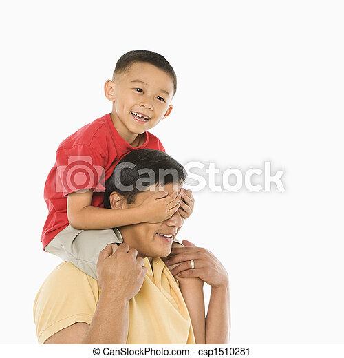 息子, 父, 肩。 - csp1510281