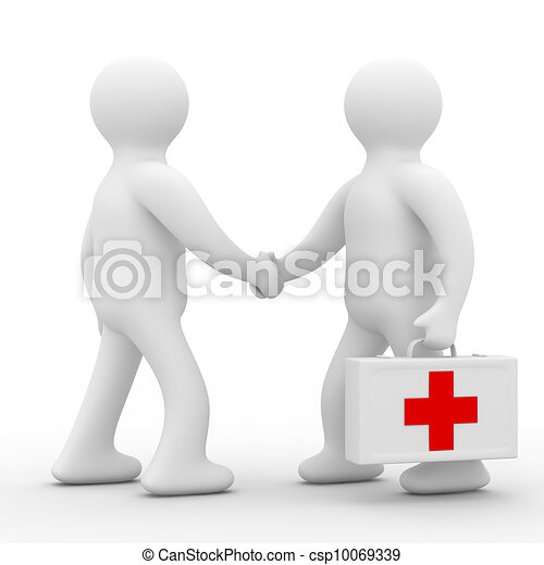 患者, 医者, イメージ, 隔離された, バックグラウンド。, 白, 3d - csp10069339