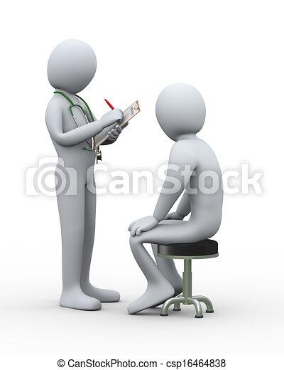 患者, 医者, 医学, 執筆, レコード, 3d - csp16464838