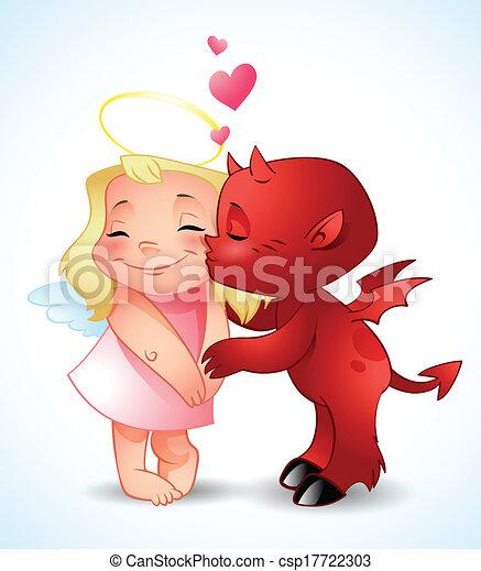 悪魔, わずかしか, 接吻, 天使 - csp17722303