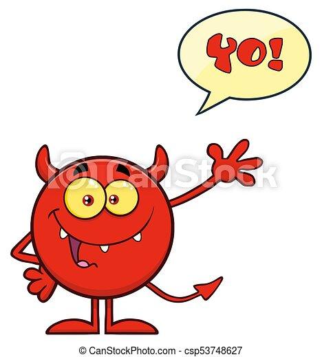 悪魔, テキスト, 特徴, 挨拶, 振ること, スピーチ泡, 漫画, 赤, emoji - csp53748627