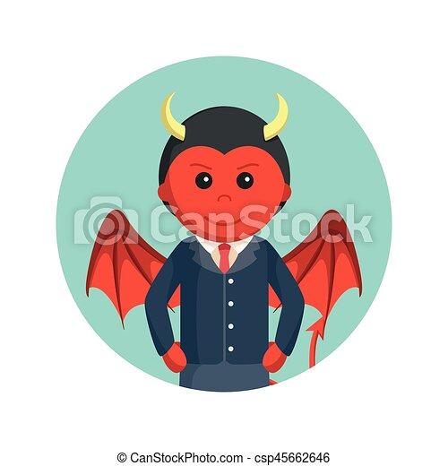 悪魔, ビジネス, 背景, 円, 翼, 人 - csp45662646