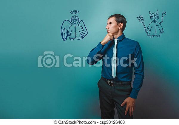 悪魔, 天使, 考え, 離れて, 悪魔, 見る, infographics, ビジネスマン, 人 - csp30126460