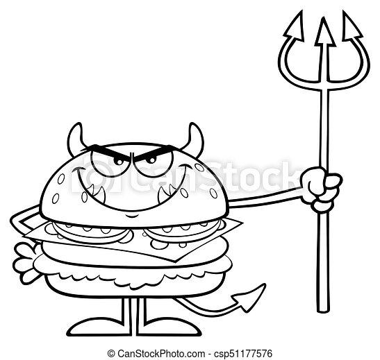 悪魔, 怒る, trident, 特徴, バーガー, 黒, 保有物, 白, 漫画 - csp51177576