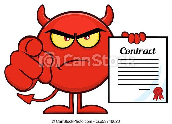 悪魔, 指すこと, 怒る, 特徴, 契約, 指, 保有物, 漫画, 赤, emoji - csp53748620