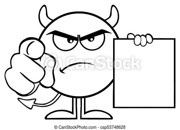 悪魔, 指すこと, 怒る, 特徴, 黒, 指, 保有物, ブランク, 歌いなさい, 白, 漫画, emoji - csp53748628